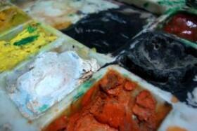 Plátno, barvy a štětce